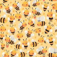 fondo senza cuciture delle api occupate del fumetto super carino vettore
