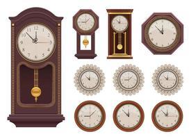 vintage orologio da parete disegno vettoriale illustrazione set isolato su sfondo bianco