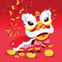 super carino ballo del leone cinese del nuovo anno vettore
