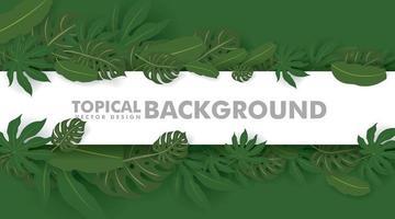 cornice fatta di fresche foglie verdi tropicali su sfondo bianco. spazio per il design o il testo. vettore