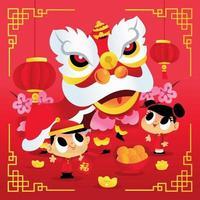 festa di ballo del leone per bambini del capodanno cinese super carino vettore