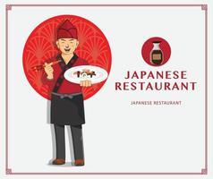 chef professionista design ristorante giapponese vettore