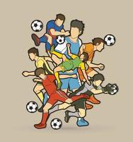 azione di giocatori di calcio vettore