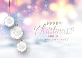 Bagattelle di Natale su uno sfondo innevato sfocato vettore