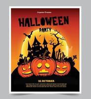 sfondo festa di notte di halloween con la luna piena vettore