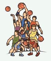 arte del fumetto di azione di giocatori di basket vettore