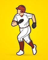 giocatore di baseball in esecuzione vettore