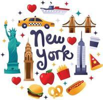 decorazioni rotonde della cultura newyorkese super carine vettore