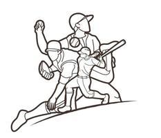 contorno di azione di giocatori di baseball vettore