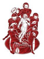 gruppo di giocatori di football americano vettore