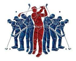 giocatori di golf giocatore di golf azione vettore