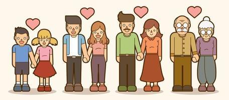 famiglia e coppie innamorate insieme vettore