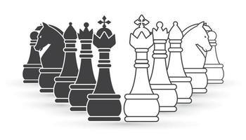 set di scacchi in bianco e nero vettore