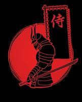 samurai in piedi con la spada e la bandiera giapponese del testo del samurai vettore