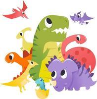 scena di gruppo di dinosauri super carino cartone animato vettore