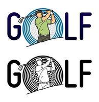 design da golf con l'azione del giocatore di golf vettore