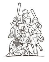 gruppo di contorno di azione di giocatori di baseball vettore