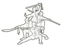 combattente di kung fu con contorno di armi vettore