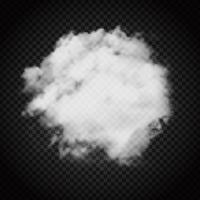 Nuvola di fumo su sfondo scuro trasparente vettore