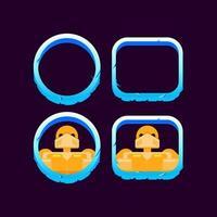 set di confine invernale di ghiaccio dell'interfaccia utente di gioco con illustrazione vettoriale di anteprima avatar personaggio