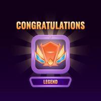 l'interfaccia utente del gioco si è classificata fino all'illustrazione vettoriale dell'interfaccia della legenda