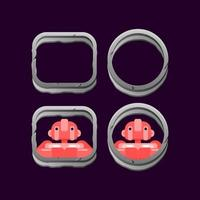 set di confine di roccia di pietra dell'interfaccia utente di gioco con illustrazione vettoriale di anteprima avatar personaggio