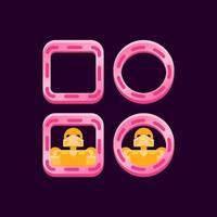 set di bordo rosa lucido dell'interfaccia utente di gioco con illustrazione vettoriale di anteprima avatar personaggio