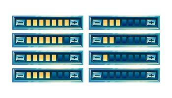 set di pannello della barra di avanzamento dell'interfaccia utente del gioco lucido fantasy con pulsante di aumento e diminuzione per l'illustrazione di vettore degli elementi dell'asset della gui