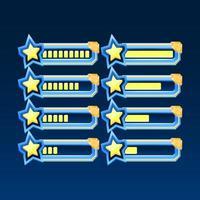 set di fantasia lucida con barra di avanzamento stella ui gioco angolo dorato con 2 stili diversi per elementi asset gui vettore