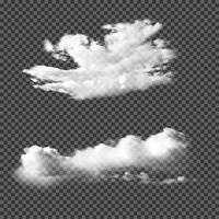 Nuvole realistiche su sfondo trasparente vettore