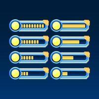 set di fantasia lucida con barra di avanzamento della bottiglia magica della pozione dell'interfaccia utente del gioco dell'angolo dorato con 2 stili diversi per gli elementi delle risorse della gui vettore