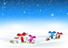 Paesaggio innevato di Natale con regali immerso nella neve vettore