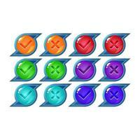 set di pulsanti dell'interfaccia utente gioco gelatina fantasia sì e no segni di spunta per illustrazione vettoriale elementi asset gui