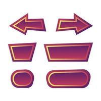 set di divertenti pulsanti viola per il gioco ui elementi asset illustrazione vettoriale