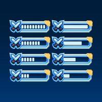 set di fantasia lucida con barra di avanzamento della spada della lama dell'interfaccia utente del gioco dell'angolo dorato con 2 stili diversi per gli elementi delle risorse della gui vettore