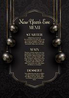 Lussuoso ed elegante design del menù di Capodanno