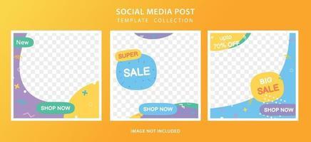 set di modelli di post sui social media per offerte speciali e sconti vettore
