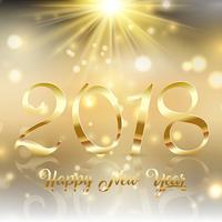 Felice anno nuovo sfondo con testo oro sotto uno starburst vettore