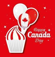 felice giornata del canada con cupcake e decorazioni vettore
