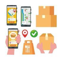 set di icone di servizio di consegna online vettore