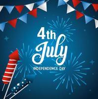 4 luglio felice giorno dell'indipendenza con fuochi d'artificio e decorazioni vettore