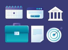 set di icone di banca online vettore