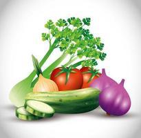 verdure biologiche fresche, cibo sano, stile di vita sano o dieta vettore