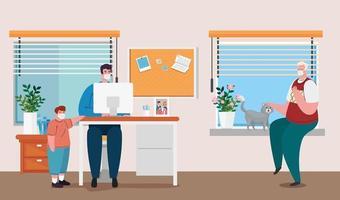 prevenzione del coronavirus da casa con uomo che lavora con la sua famiglia vettore