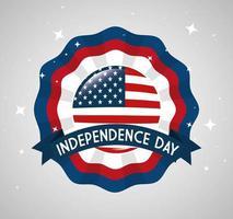 Emblema di pizzo del 4 luglio felice giorno dell'indipendenza vettore