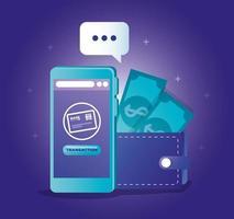 concetto di banking online con smartphone e icone vettore