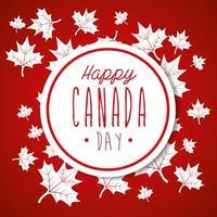felice giornata del canada con decorazioni di foglie d'acero vettore