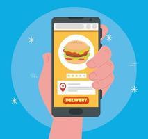 concetto di e-commerce, ordina cibo online tramite app o sito web vettore