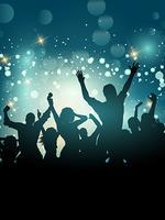Silhouette di una folla di festa eccitata