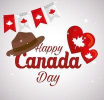 felice giornata del canada con cappello e decorazioni vettore